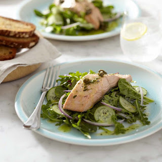 Poached Salmon over Greens with Caper Vinaigrette