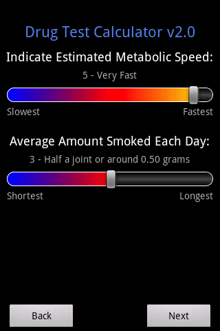 Marijuana Drug Test Calculator- screenshot