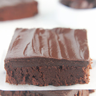 Clean & Fudgy Dark Chocolate Frosted Brownies.