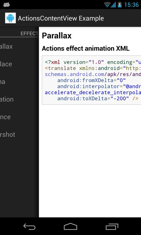 ActionsContentView Example- screenshot