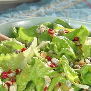 Cranberry-Almond Green Salad with Honey Mustard Vinaigrette.
