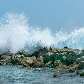 Waves crash on rocks by Greg Bracco - Nature Up Close Rock & Stone ( waves, california, wave, pacific ocean, summer, ocean, ocean view,  )