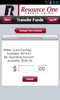Screenshot of Resource One Mobile Banking