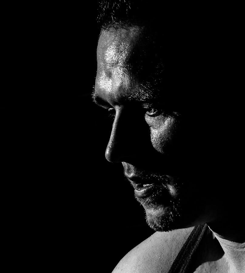 Concentration by Mike Shields - People Portraits of Men ( concentration, face, black & white, men, portrait,  )