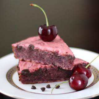 Cherry Chocolate Chunk Blondies with Cherry Frosting