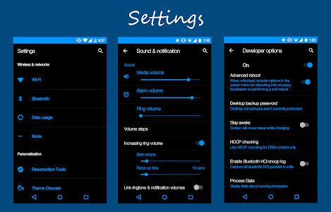 CM12 Theme Dark Black Blue v1.1
