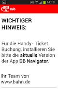 Screenshot of DB Tickets