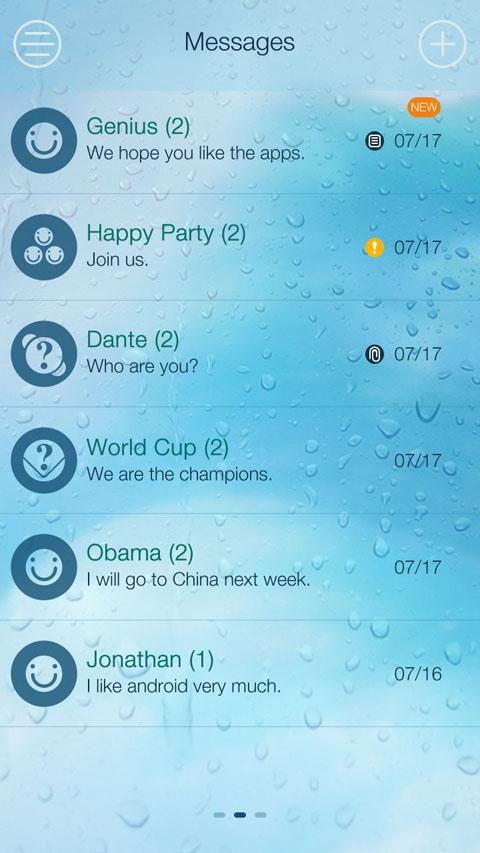 GO SMS PRO WATER THEME- screenshot
