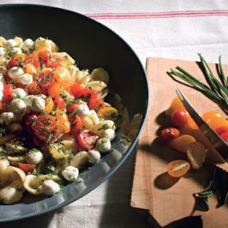 Orecchiette with Fresh Mozzarella, Grape Tomatoes, and Garlic Chives
