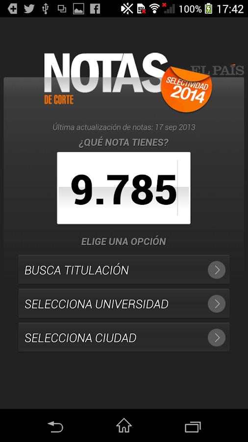 Notas de Corte 2014 - screenshot