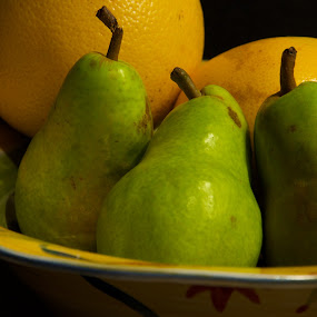 Untitled by David Goss - Food & Drink Fruits & Vegetables ( fruit, food, still life, green, pears, stems, yellow, grapefruit )
