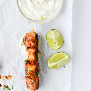 Chili Garlic Chicken Skewers with Yogurt Sauce.