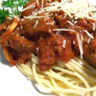 Spaghetti with Tomato and Sausage Sauce.