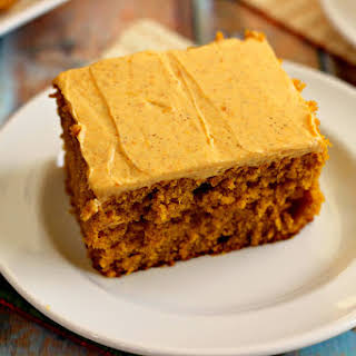 Pumpkin Spice Cake with Pumpkin Cream Cheese Frosting.