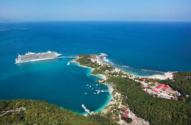 Oasis of the Seas docked at Labadee, Haiti, Royal Caribbean's 260-acre private beach playground on Haiti's north coast.