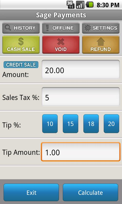 Sage Mobile Payments - screenshot