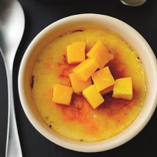 Lemon & Vanilla Crème Brûlée with Fresh Mango Topping