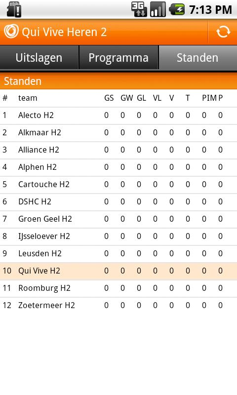 hockey.nl standenmotor - screenshot