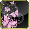 pink butterflies glitter lwp icon