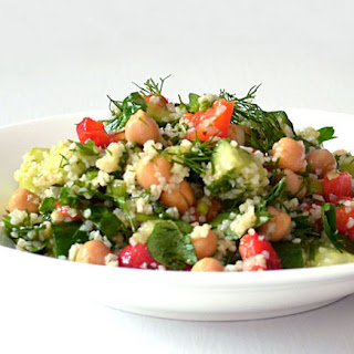 Mediterranean Toasted Quinoa Salad ~ Chickpeas, Roasted Red Peppers & Herbs