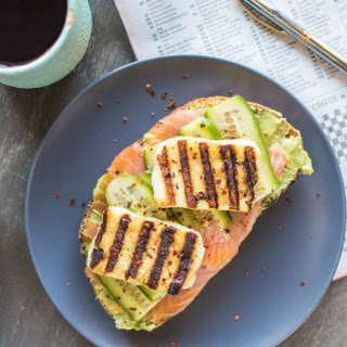 Smoked Salmon and Grilled Halloumi Avocado Toast.