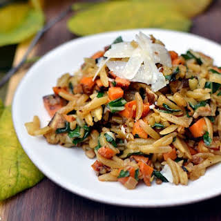 Orzo with Caramelized Fall Vegetables & Ginger.