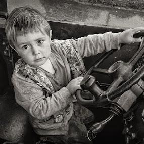 Driving by Dan Horton-Szar ARPS - Babies & Children Child Portraits ( monochrome, vehicle, black & white, driving, children, canon powershot s95, military,  )