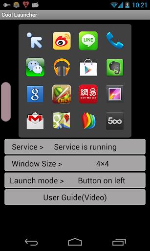 """Con Cool Launcher podremos crear un pequeño lanzador de aplicaciones """"flotante"""" que tendremos siempre accesible, aunque tengamos otra app abierta. Su funcionamiento es bastante sencillo: seleccionamos el tamaño que queremos para añadir nuestras aplicaciones preferidas, desde 3×1 hasta 4×4, y vamos seleccionando las que nos interesen.                       Luego podemos elegir de qué manera queremos acceder a ellas,"""