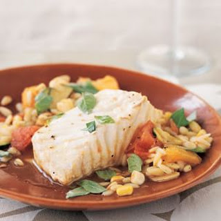 Braised Halibut with Summer Vegetables and Orzo.