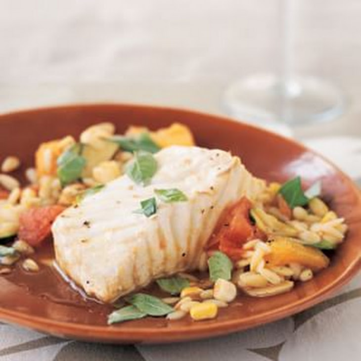 Braised Halibut with Summer Vegetables and Orzo