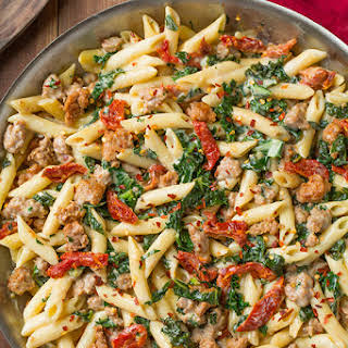 Creamy Kale and Turkey Sausage Pasta with Sun Dried Tomatoes.
