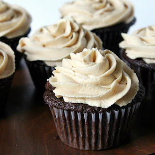 Healthier Chocolate Cupcakes with Peanut Butter Frosting.