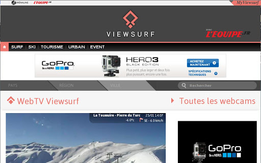 Webcams Viewsurf Tablette
