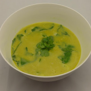 Coconut Curry Split Pea Soup With Rice And Spinach.