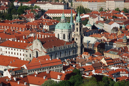 Czech-Prague-St-Nicholas-Church-view - A view of the 18th-century St. Nicholas Church in Prague, the Czech Republic. Classical music concerts are held almost daily at the magnificent baroque church.