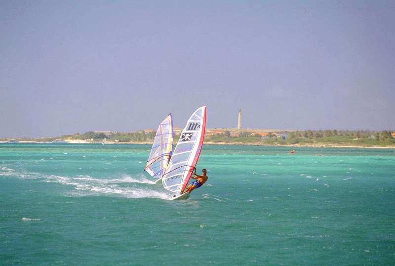 Windsurfing time on Aruba.