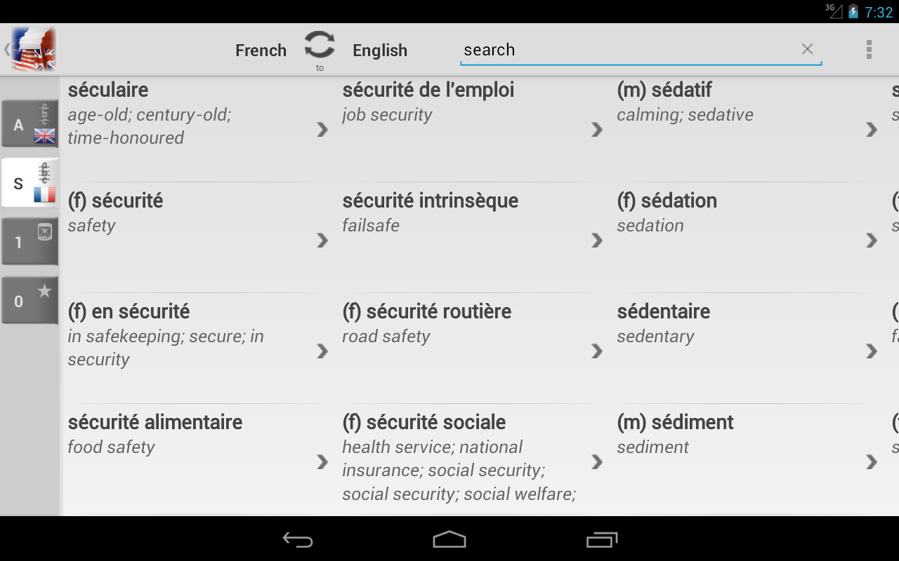 Dictionary French English - screenshot