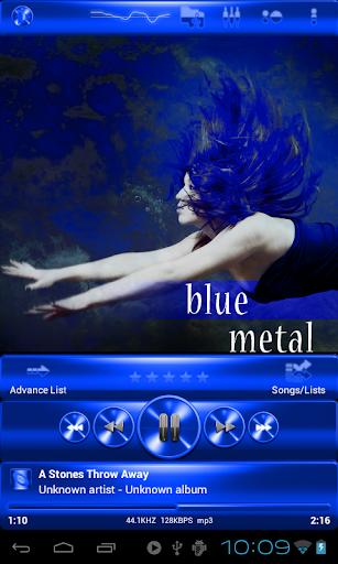 Poweramp skin 藍色金屬