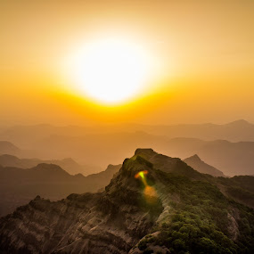 Set to Rise another day. by Neel Gengje - Landscapes Sunsets & Sunrises ( hills, orange, mountain, sunset, flare,  )