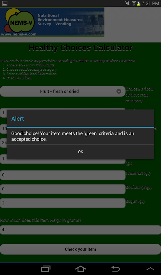 Healthy Choice Calculator- screenshot