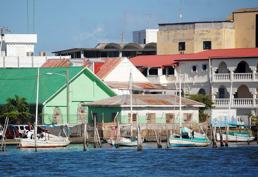 Local boats in Belize City, Belize.
