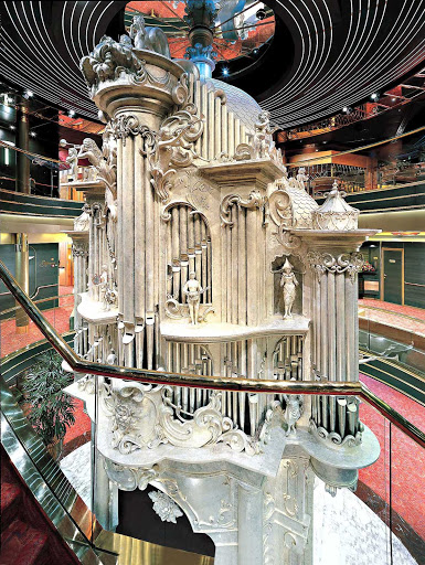 This Baroque-style Dutch pipe organ, inspired by traditional barrel organs, is at the heart of the three-story atrium of Holland America Line's Zaandam.