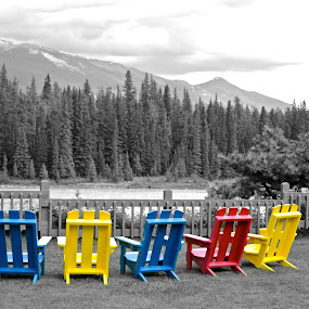 Happy Hour by  J B  - Artistic Objects Furniture ( happy hour, adirondack chairs, chairs, athabasca river, black & white, jasper national park )