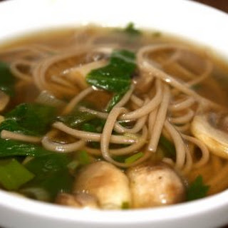 Soba Noodle Soup with Spinach and Mushrooms.