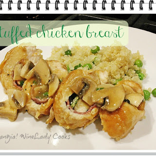 Stuffed Chicken Breasts With Mushroom Gravy.