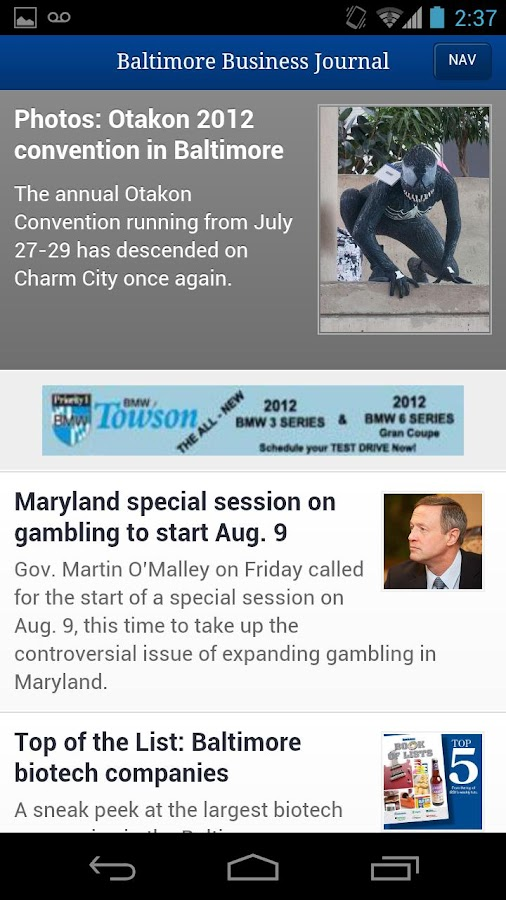 Baltimore Business Journal- screenshot