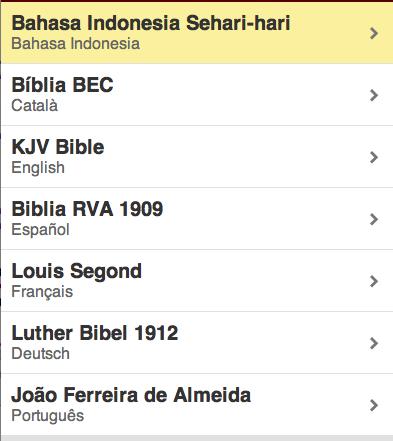 La Biblia en varios idiomas