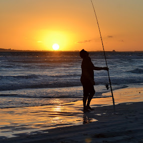 fishing by Justine McGrath - Landscapes Waterscapes ( water, sand, sky, waves, sun,  )