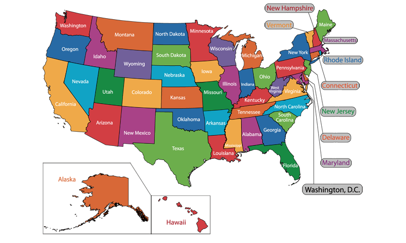 American States And Capitals Google Play Store Revenue - The map of the usa with states and capitals