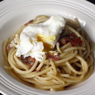 Peppery Pasta Carbonara with Poached Egg.